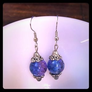 Choose your Color Silver & Crackle Beaded Earrings